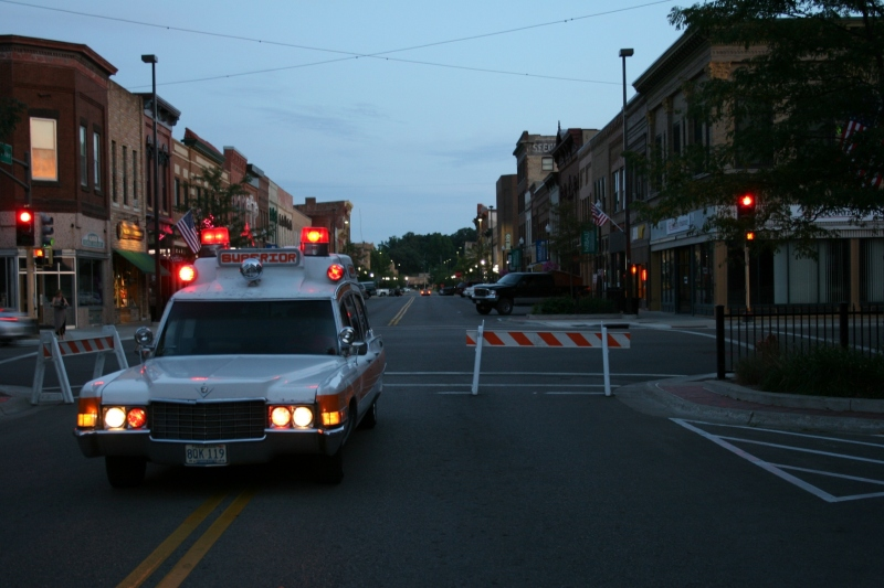 Craig attracted plenty of attention when he flipped on the lights and sirens on his vintage ambulance.