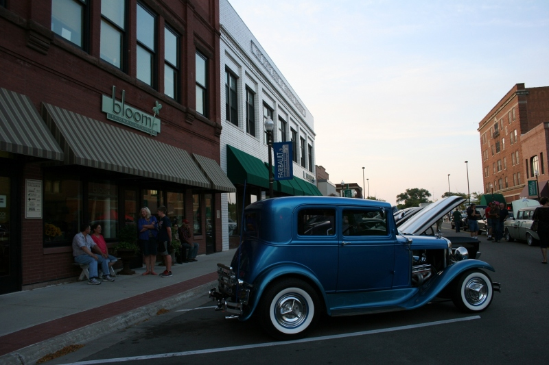 Plenty of old vehicle lined a block of Central Avenue in historic downtown Faribault.