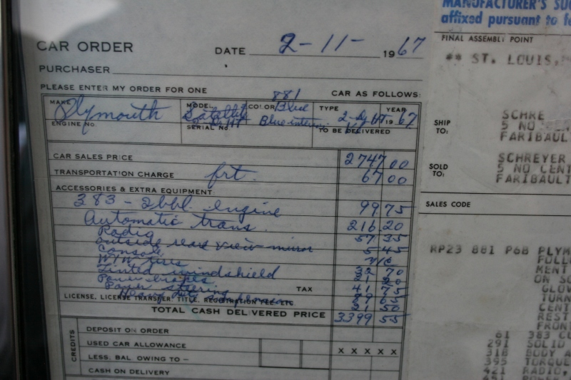 Randy noticed, and pointed out to me, the original car order from 1967 for a Satellite still owned by the original owner.