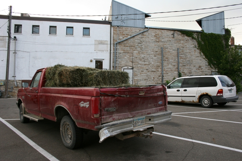 Hay bales in pickup, back and side view