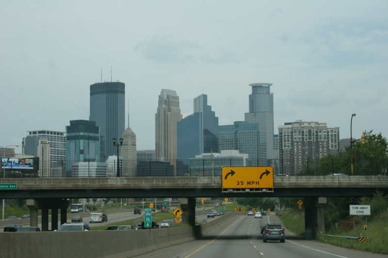 Minneapolis presents a photogenic skyline from afar.