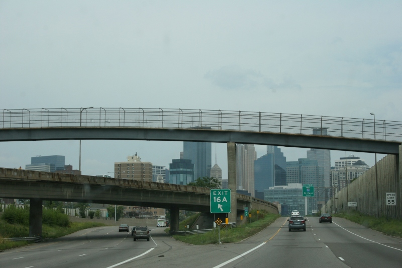Almost to the I94/35W split near downtown Minneapolis.