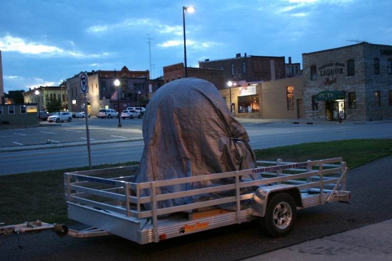 "The 1950s era Tilt-A-Whirl car sits, covered, outside Mill City until after the 9:30 p.m. airing of ""Boy Meets Whirl."""