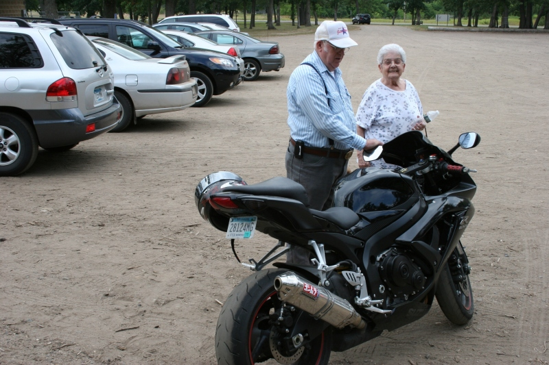 The family patriarch, Tom, and his wife, Jan, admired Corey's bike, but could not be persuaded to take a spin.