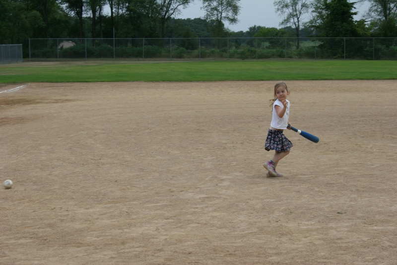 The ball diamond proved a popular spot for the little ones like my great niece, Meghan.