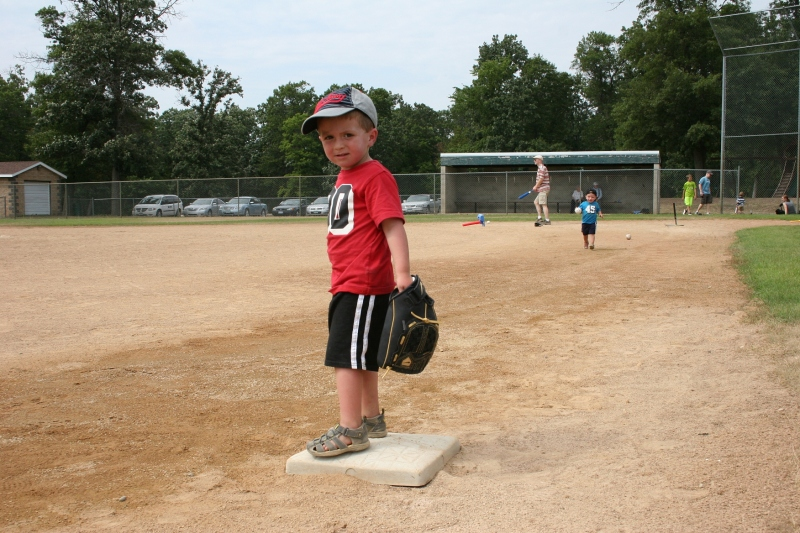 My great nephew, Cameron, covers third base.