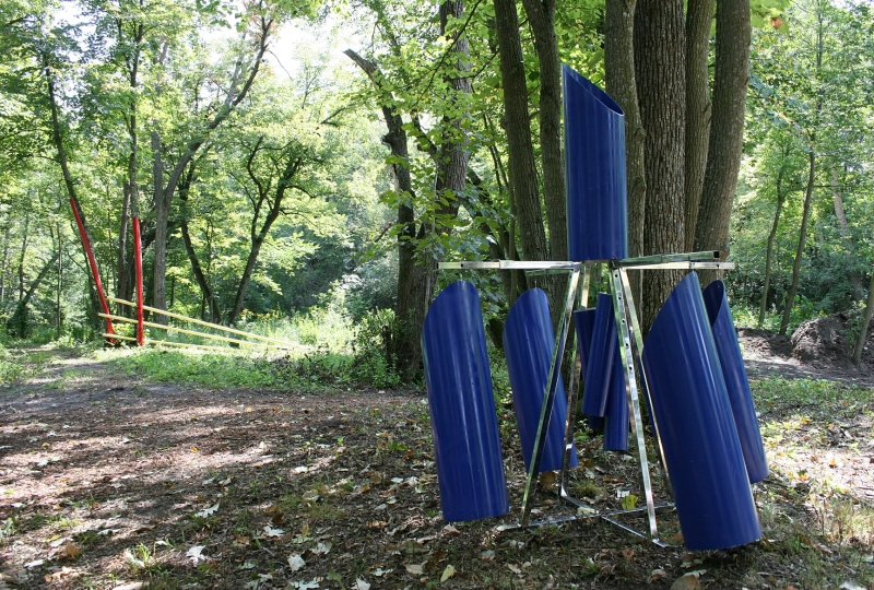 Conduit and pipes transformed into art for placement on Steve's wooded acreage.