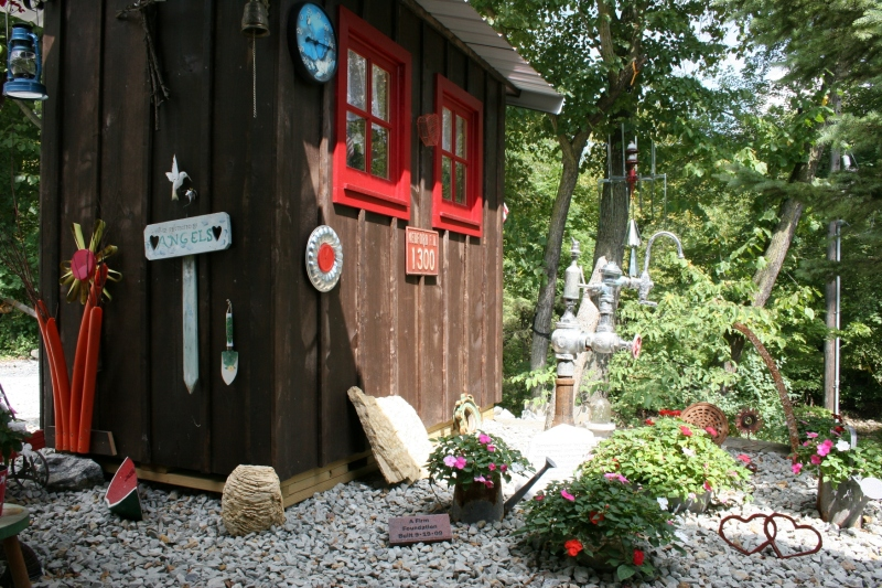 Steve has built several of these sheds, this one graced with some of the art he's crafted.