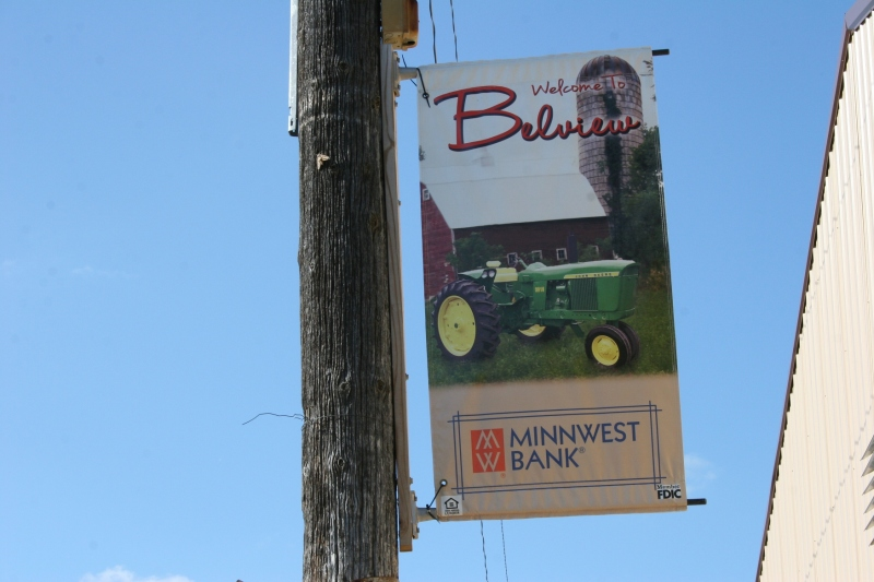 One of numerous banners displayed in the farming community of Belview.