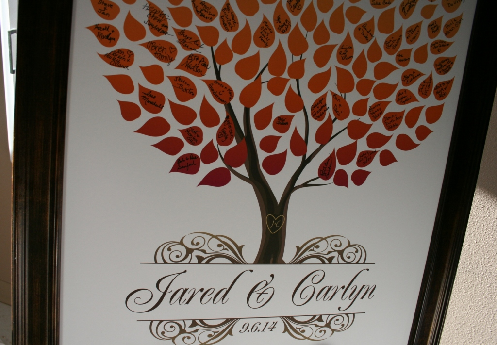 Instead of signing their names in a guestbook, guests signed the leaves on this tree.