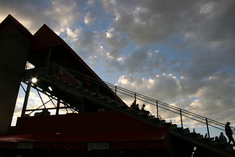 After the early evening rain, fans began filing into the grandstand in the