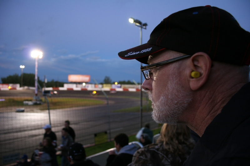 My husband enjoys racing. At least we remembered to bring ear plugs.