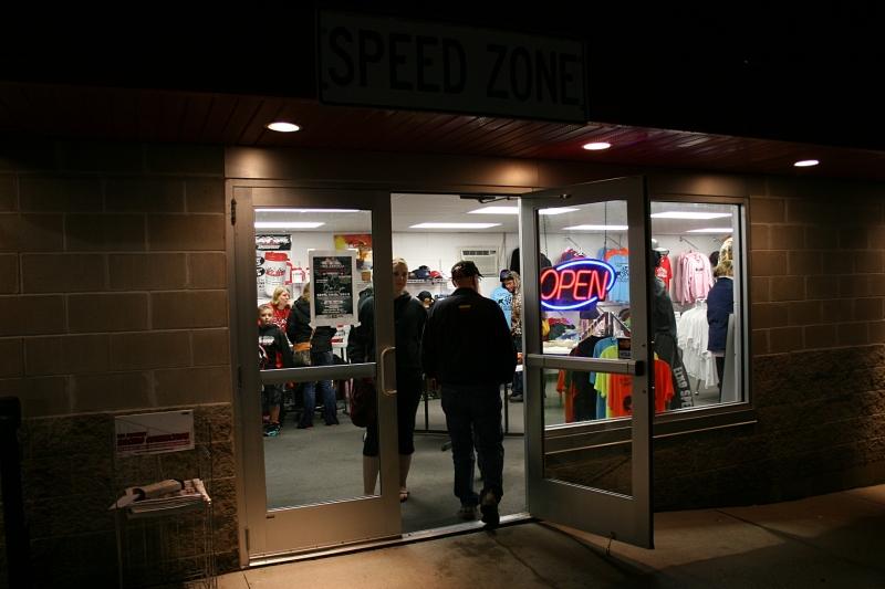 Lots of racing merchandise inside the Speed Zone.