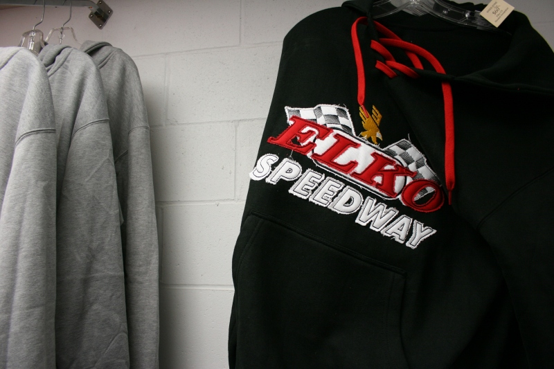 Sweatshirts were the attire of choice Saturday evening. for those fans smart enough to wear them to the track or purchase them at Speed Zone.