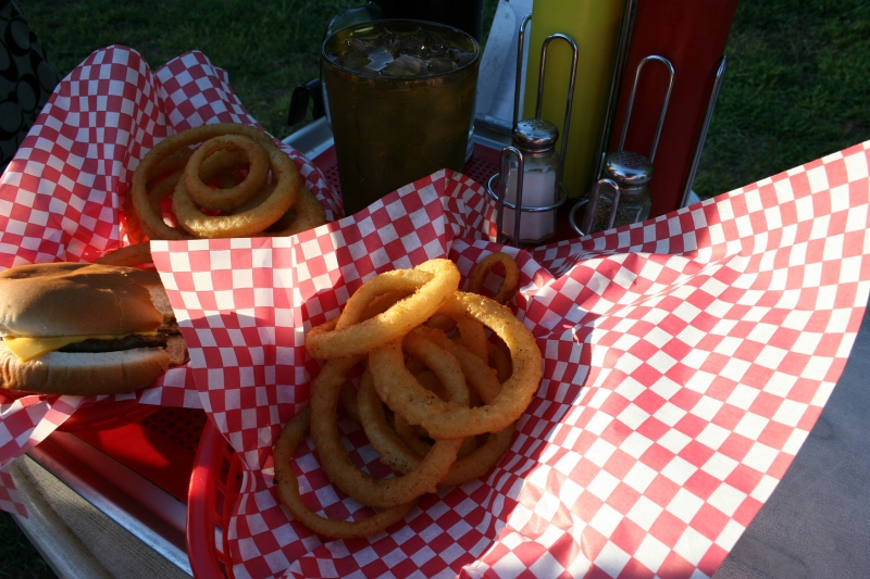 Drive-in fare served in a paper lined basket.