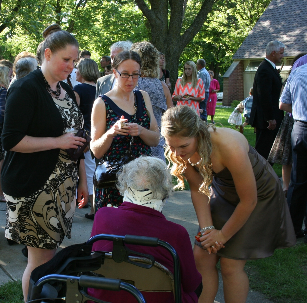 Three of my mom's granddaughter's visit with her after the wedding.