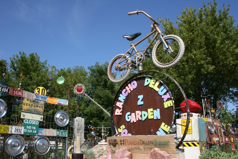 A sign welcomes visitors to this unofficial, privately-owned Mason City sculpture garden.
