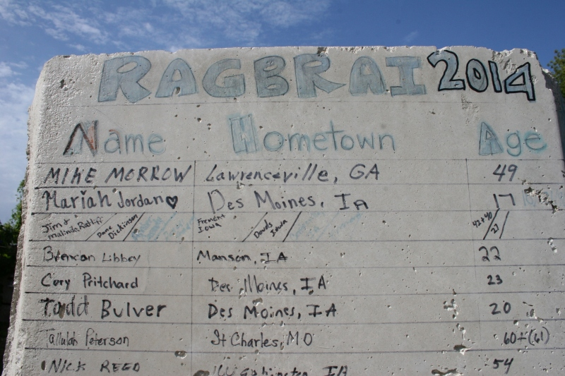 Signatures of Ragbrai 2014 participants who stopped here.
