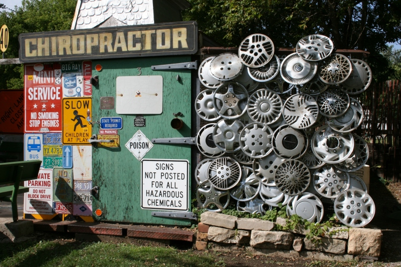One of my favorite sculptures features wheel covers.