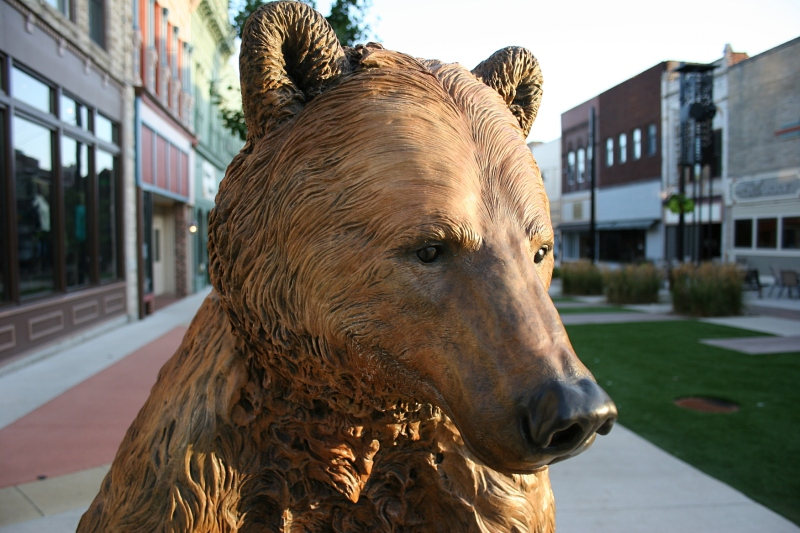 """Directly across the street you'll find """"Bruno"""" by artist Eric Thorsen in the Federal Avenue Plaza."""