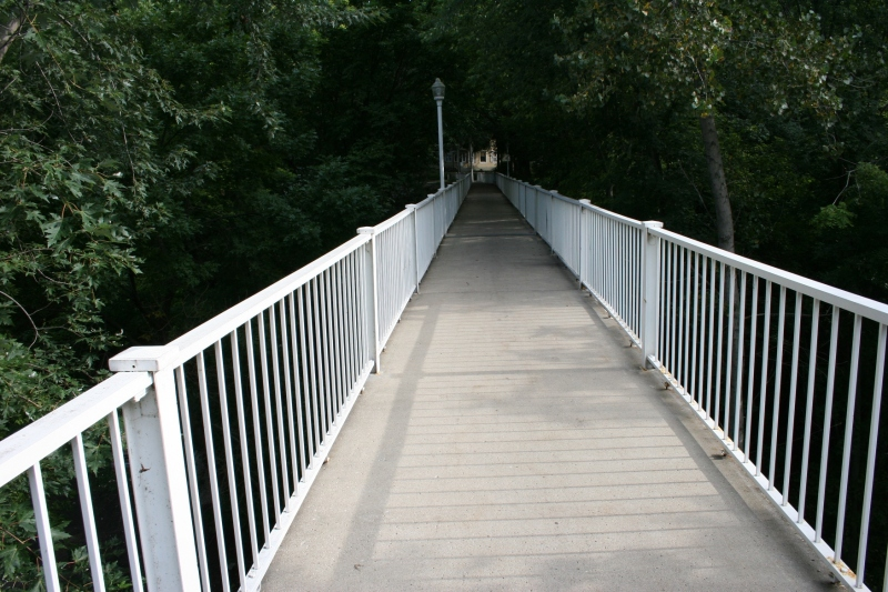 """The Meredith Willson Footbridge, named after """"The Music Man"""" composer, was built in 1940 and spans Willow Creek."""