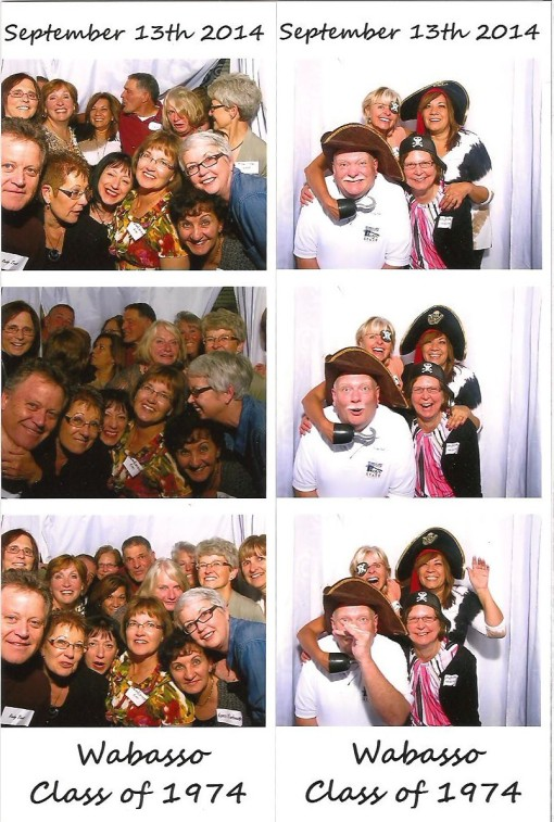 How many classmates can cram into a photobooth, left, and four members of the reunion committee, right.