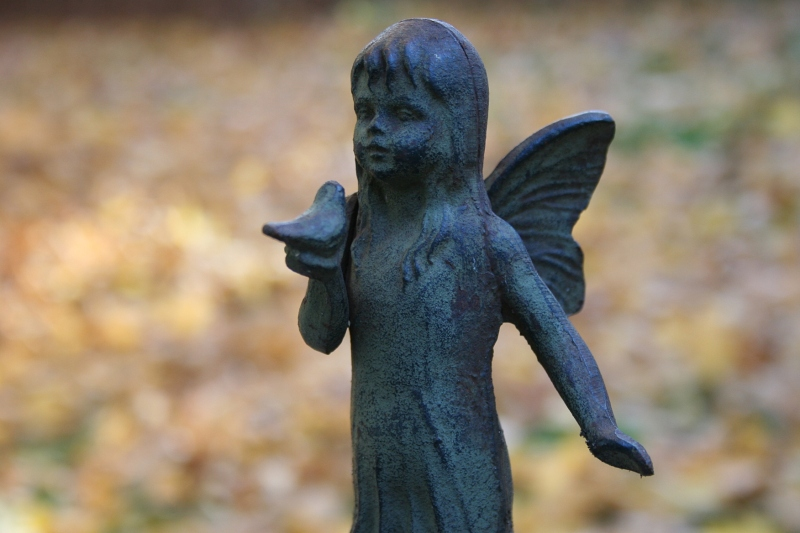 A garden art angel I have yet to move indoors.