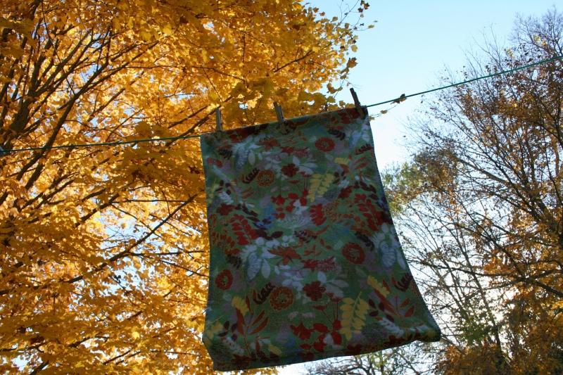 I'm still hanging laundry outside and will do so until the snow flies. I noticed how this kitchen towel mimics the hues of autumn.