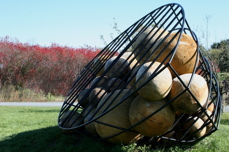 """Maryland artist James R. Long calls his sculpture """"Vessel with Orbs."""" To me it looks like BINGO balls minus the numbers and letters."""