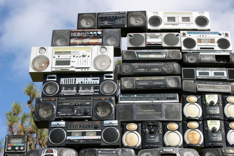 "Bayete Ross Smith of New York City created ""God the Power: Minnesota,"" a towering stack of boomboxes. Remember these?"