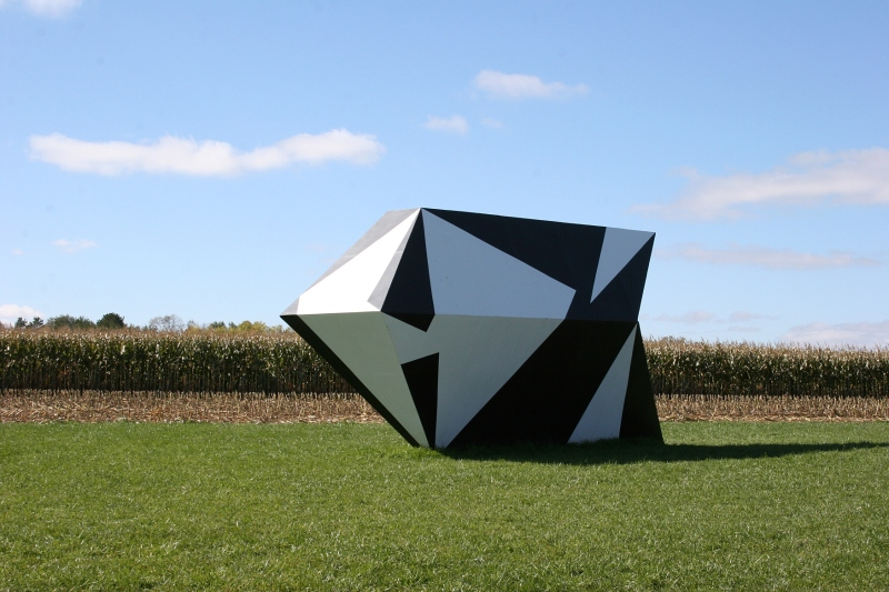 It is the setting of this geometric art that especially pleases me. Right next to a cornfield.