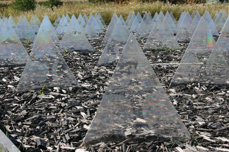 "It's interesting to study the light reflecting on these triangles. New York City artist Ryan W. Turley created this sculpture which he calls ""Spectacle."""