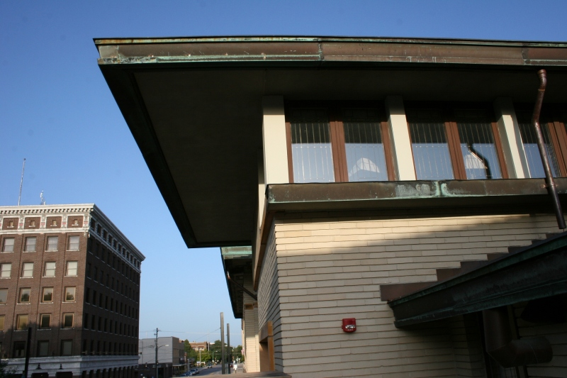 Strong rooflines define Prairie School architecture like this at the hotel.