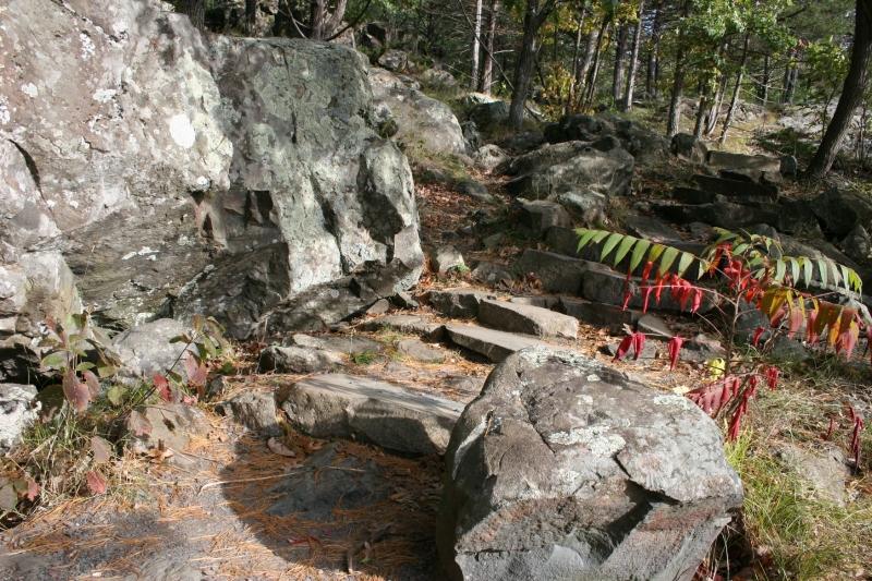 Rock steps along a trail.