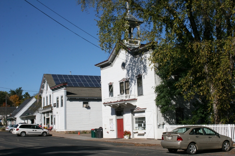 A quick snapshot shows the Village Hall to the right and the Marine General Store on the far left.
