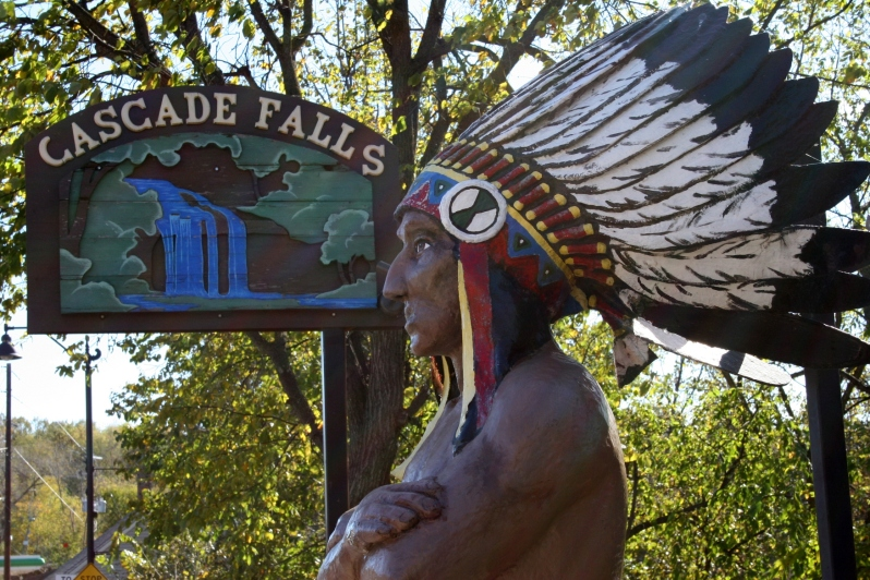An artist's rendition of Chief Osceola, after whom Osceola, Wisconsin, is named, stands near the stairway leading to Cascade Falls.