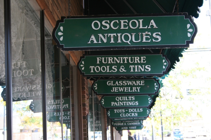 This attractive signage hangs outside Osceola Antiques, which bills itself as the largest antique mall in northwestern Wisconsin with 11,000 square feet.