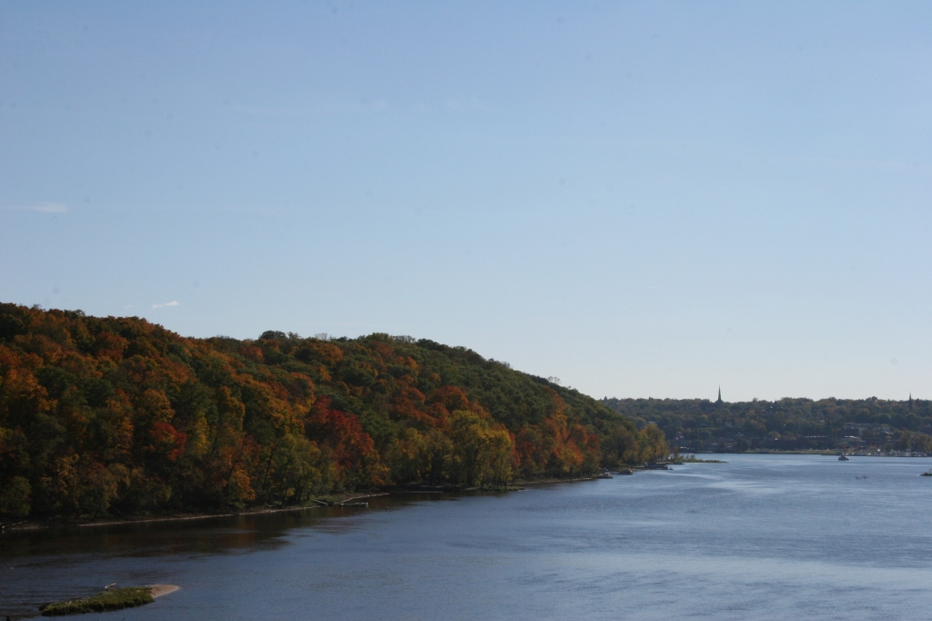 Fall colors are at their prime in some areas of Minnesota. This photo, taken on Thursday, shows the St. Croix River near Stillwater.