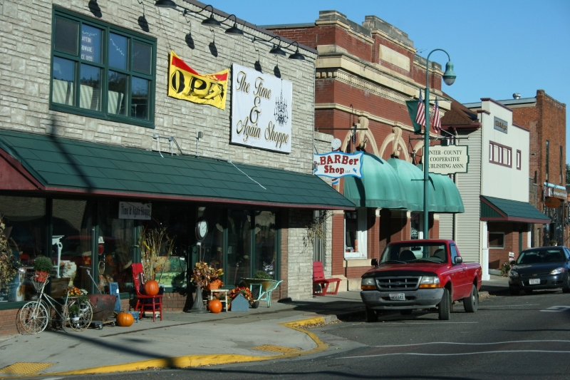 Shops in downtown St. Croix Falls.