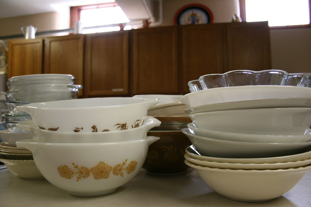 Church ladies bring bowls from home.