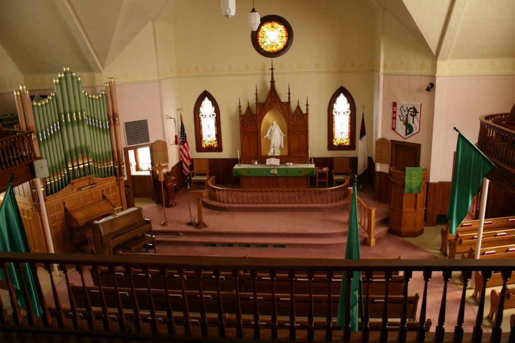 A view of the sanctuary from the balcony.