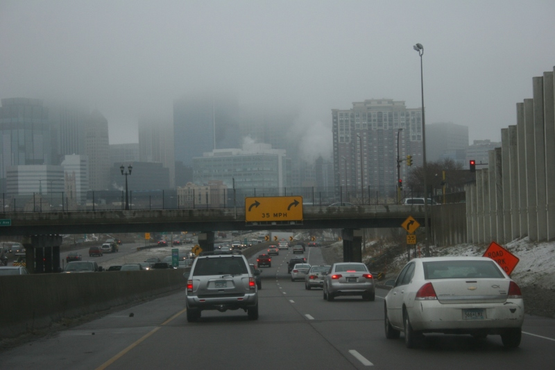 A view of downtown Minneapolis on a foggy Saturday from Interstate 35.