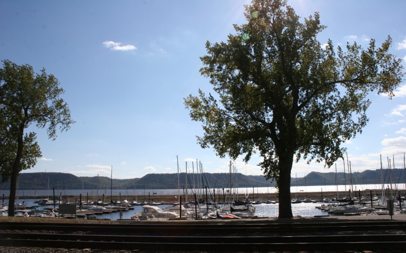 Across the railroad tracks lies Lake Pepin.