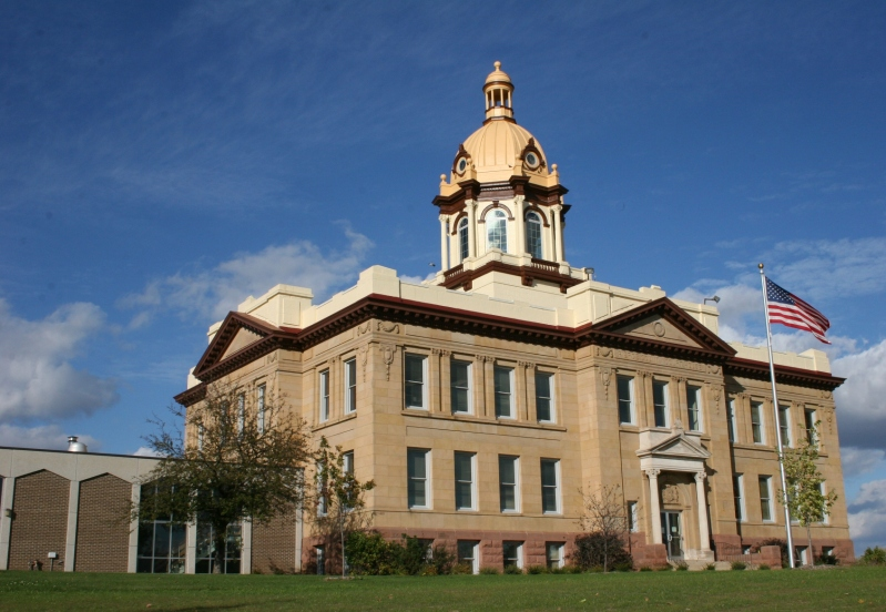 The stately Pierce County Courthouse in Ellsworth, Wisconsin.