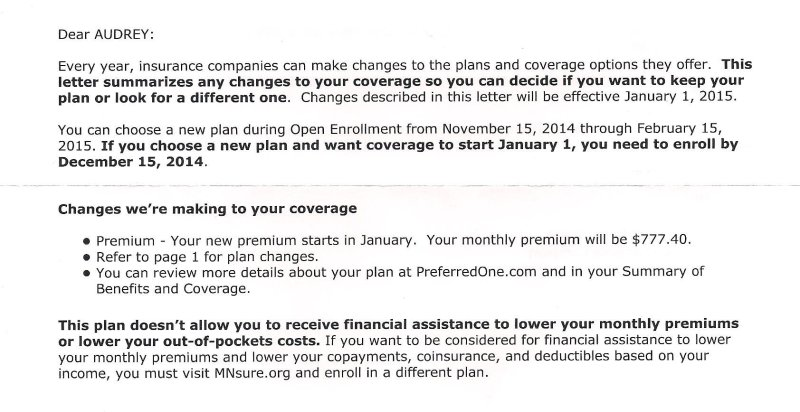 The letter I received from my health insurance carrier.