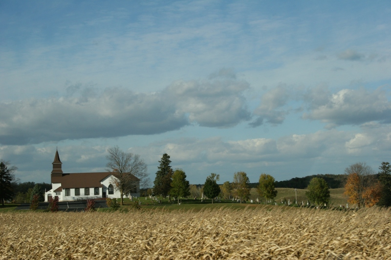 Rural, country church and cemetery