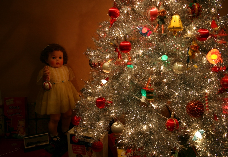 In the '50s section of the exhibit, a Christmas tree with coveted toys of the decade.