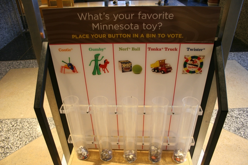 As we left the museum, we voted for our favorite Minnesota made toy. My daughter and I voted for Cootie. Our husbands chose Tonka.