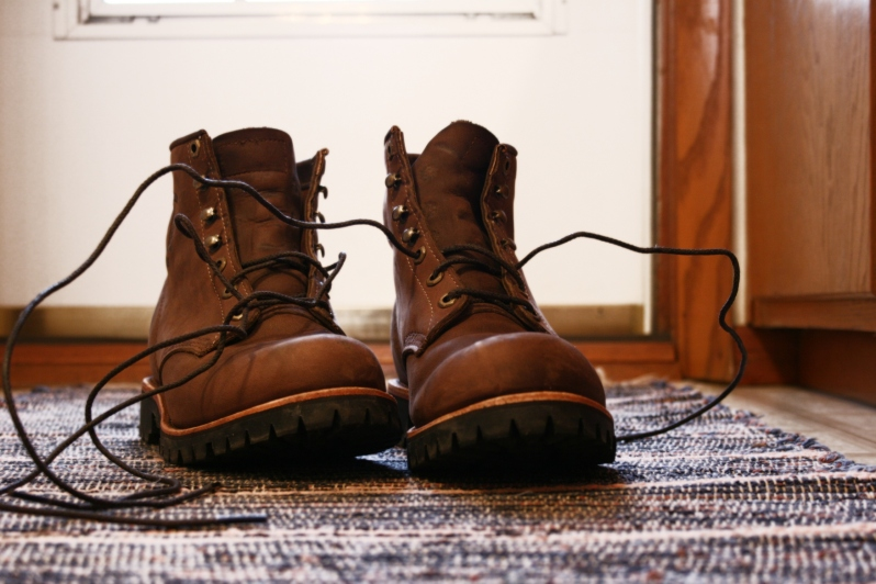 Chippewa boots have replaced athletic shoes.