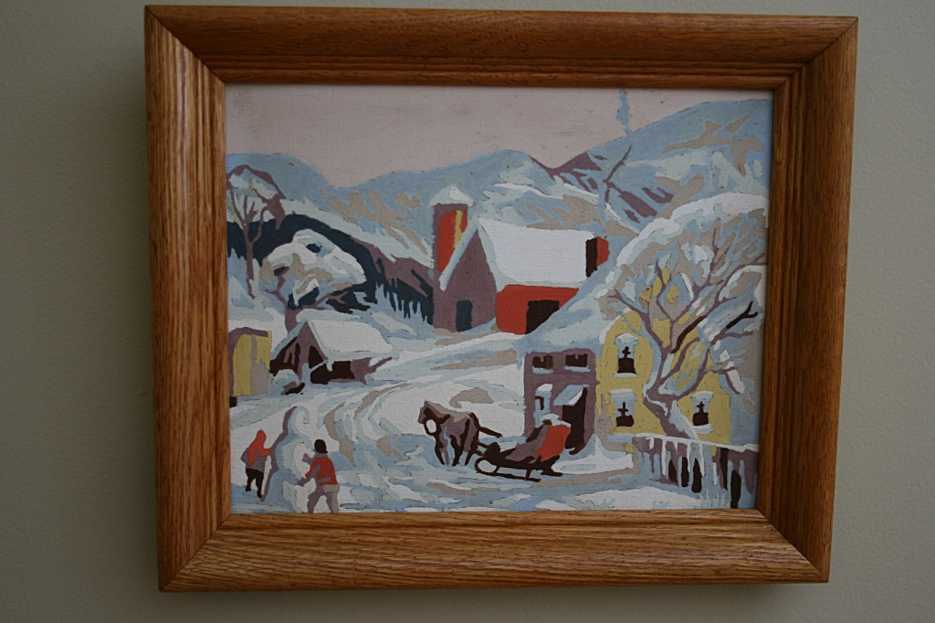 Behind the Christmas tree hangs this paint-by-number winter scene painted by my Great Grandma Anna.  This was the perfect addition to my paint-by-number collection.